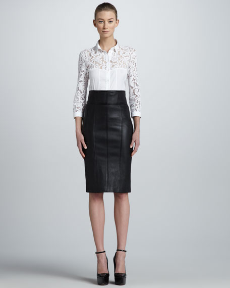 Burberry London High-Waist Leather Pencil Skirt