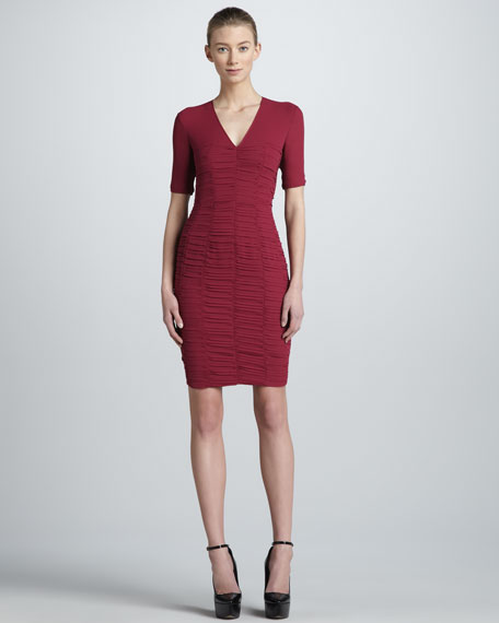 Sweetheart-Detailed Ruched Sheath Dress