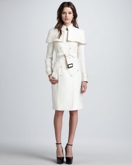 Caped Duchess Satin Trenchcoat