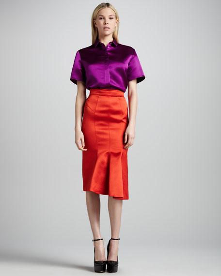 Kick-Front Satin Pencil Skirt