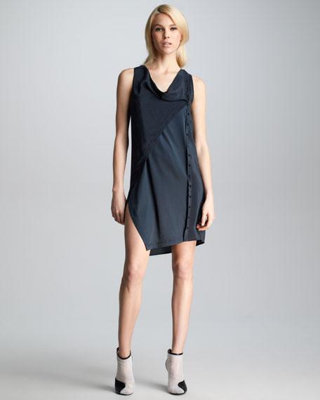 Twisted Placket Dress, Soft Black