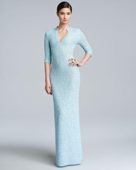 Sequin Knit Caftan Gown