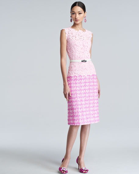 Lace Tweed Combo Dress, Pink