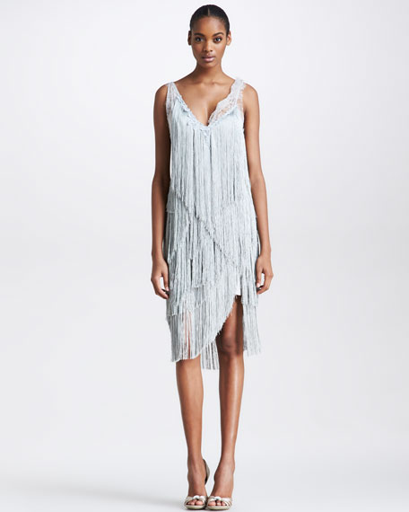 Fringe Cocktail Dress, Gray