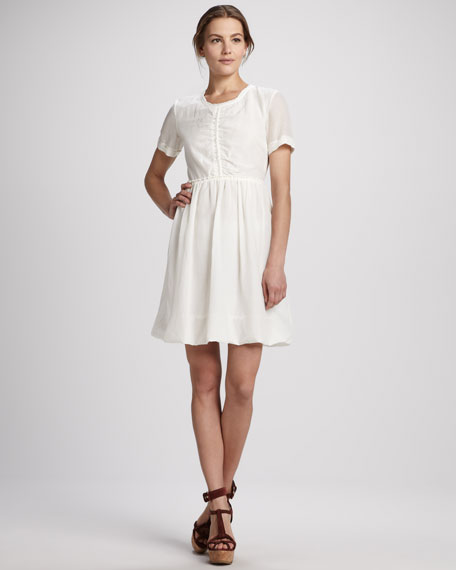 Back-Zip Short-Sleeve Dress