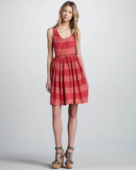 Sleeveless Striped Silk Dress