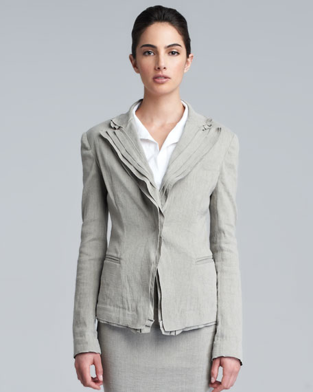 Layered Lapel Linen-Blend Jacket, Hemp