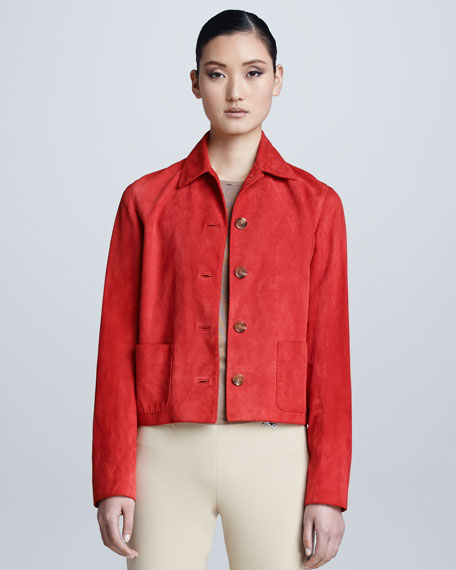 Luxury Suede Jacket, Coral
