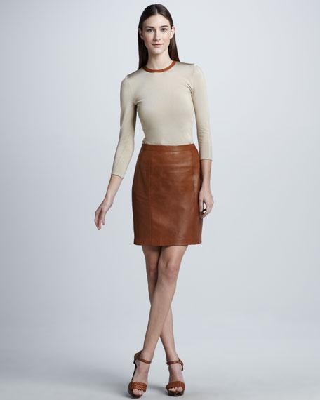 Luxury Leather Skirt, Saddle