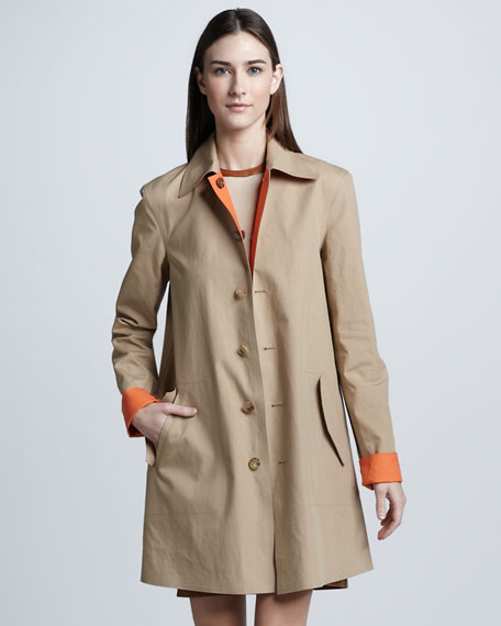 Bonded Cotton Reversible Trench Coat, Mandarin/Wheat