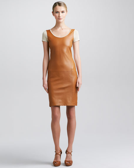 Leather-Front Short-Sleeve Dress, Caramel