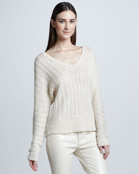 Dolman-Sleeve Linen Sweater, Ivory
