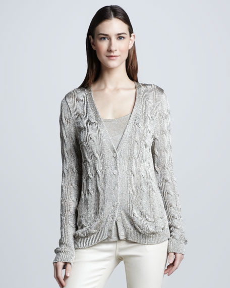 Metallic Cable-Knit Cardigan, White Gold