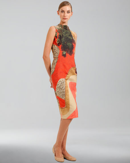 Garden-Print Double-Faced Sleeveless Dress