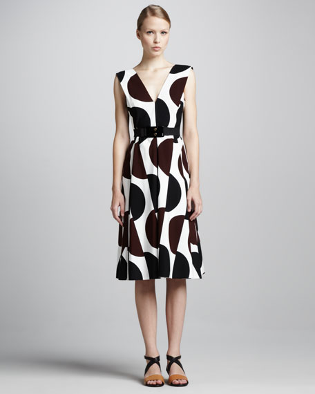 Dot-Print Tea-Length Dress