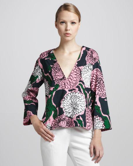 Floral-Print Kimono-Sleeve Top