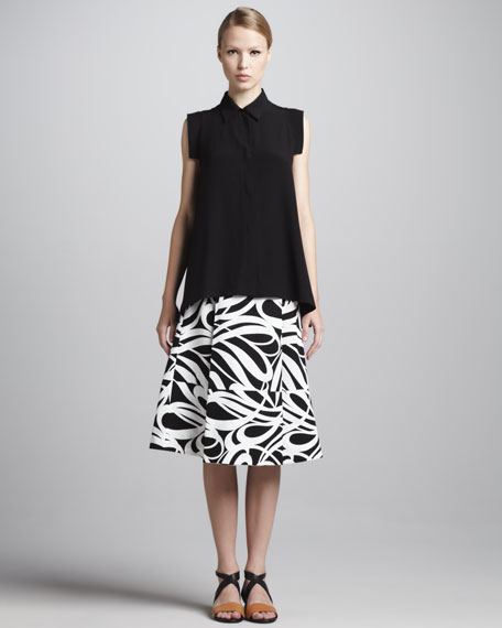Graphic-Print A-Line Skirt