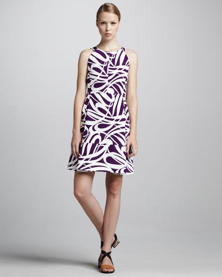 Swirl-Print Short Dress