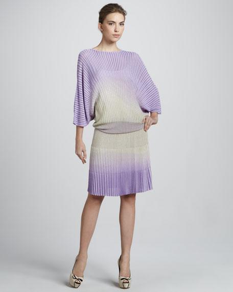 Pleated Ombre Blouson Dress
