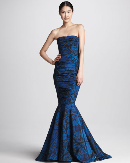 Printed Strapless Ruched Mermaid Gown, Navy