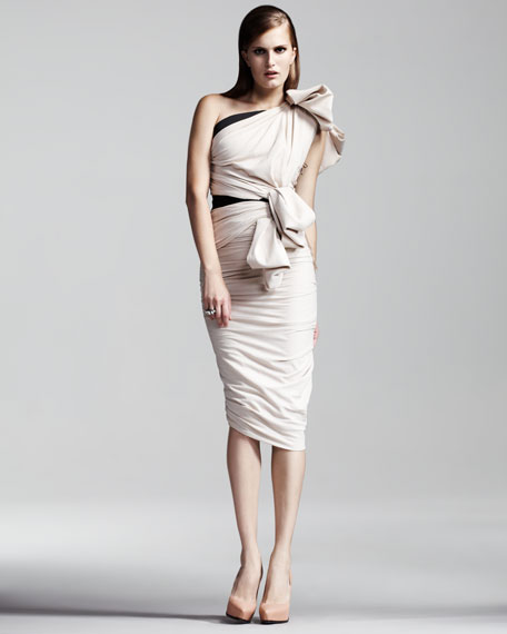 One-Shoulder Ruched Dress, Ivory