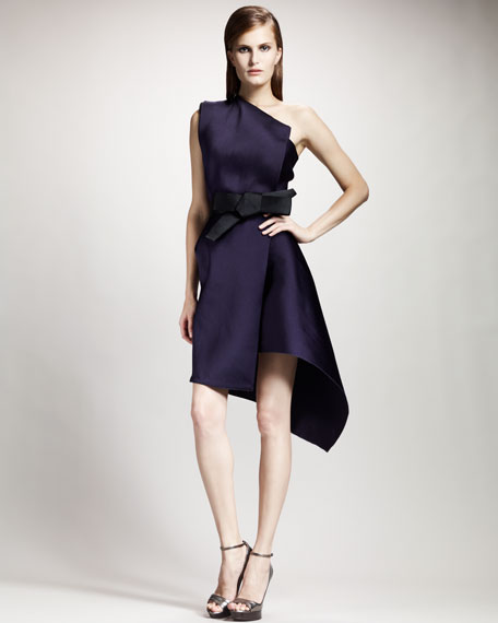 Lanvin One-Shoulder Duchesse Techno Dress, Violet