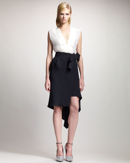 Asymmetric-Hem Wrap Skirt, Black