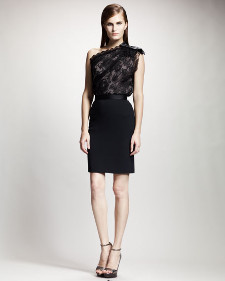 Tuxedo-Waistband Pencil Skirt