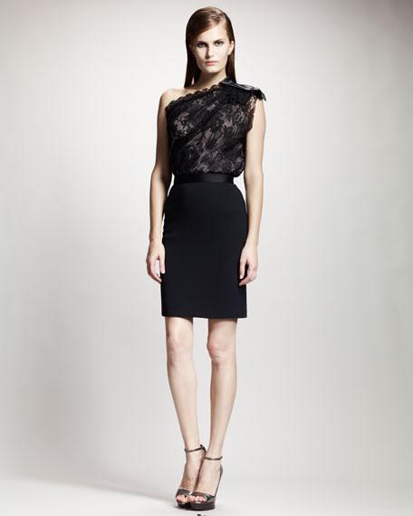 Tuxedo-Waistband Pencil Skirt