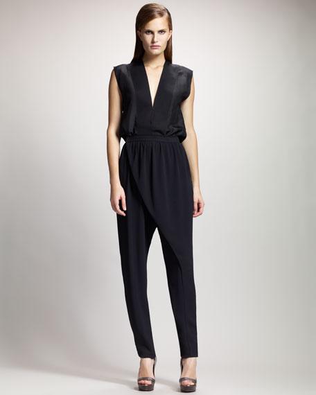 Wrap-Front Harem Pants, Black