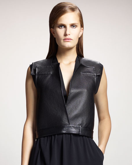Sleeveless Leather Gilet