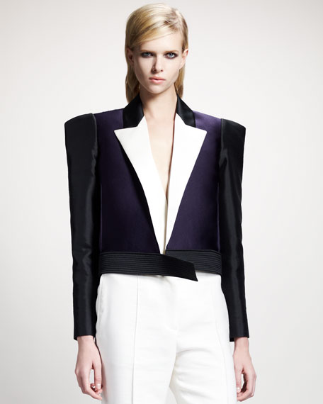 Tricolor Strong-Shoulder Jacket