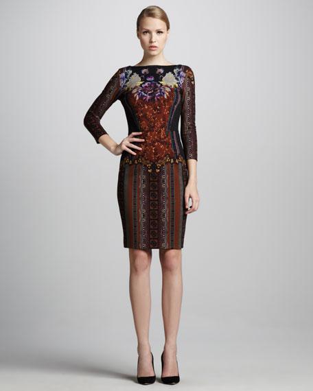 Dropped-Waist Three-Quarter-Sleeve Dress