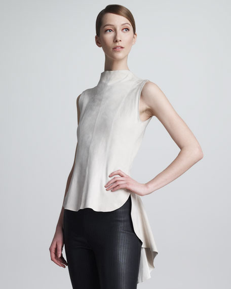 Smalter Suede Sleeveless Top, Pumice
