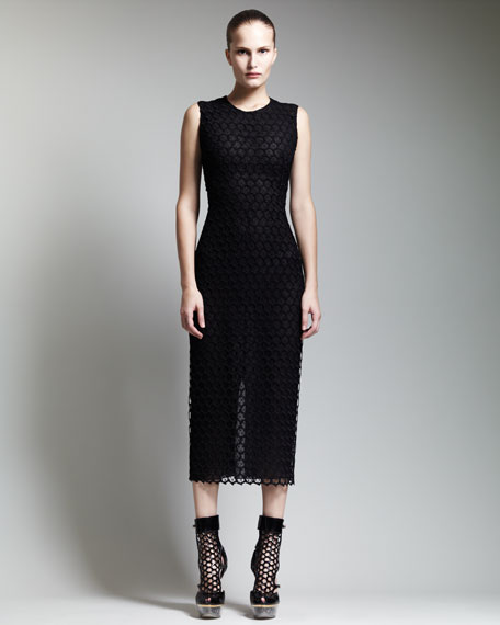 Below-Knee Macrame Sheath Dress
