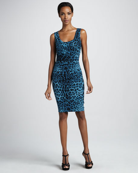 Sleeveless Leopard-Print Sheath Dress, Blue