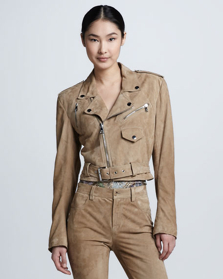 Luxe Suede Moto Jacket, Taupe