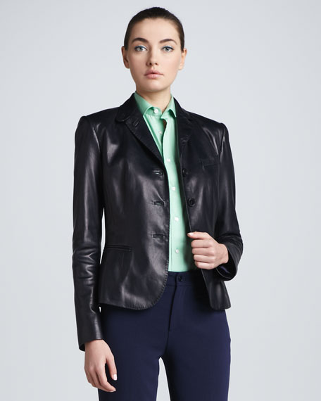 Leather Notch-Collar Blazer, Navy