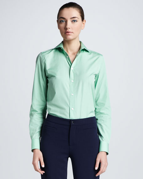 Cotton Broadcloth Blouse, Celery