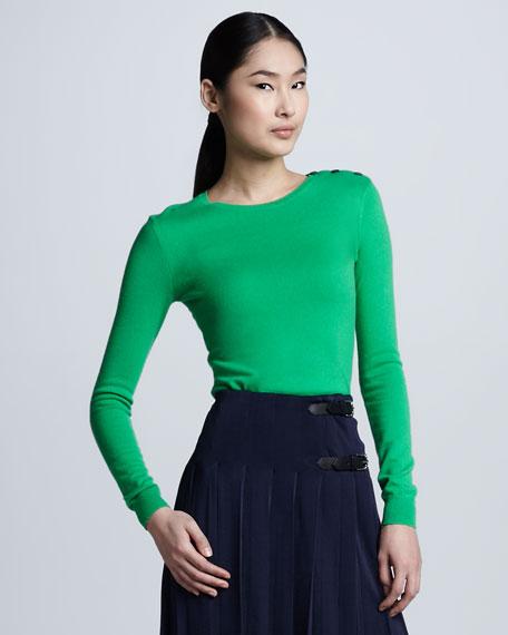 Button-Shoulder Cashmere Sweater, Grass