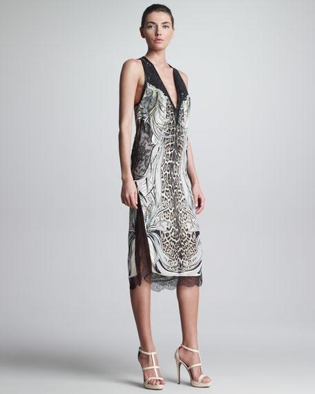 Mixed-Print Slit Lace-Trim Dress
