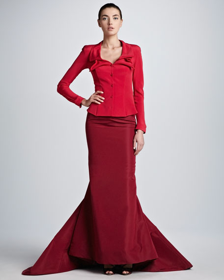 Taffeta Mermaid Full-Length Skirt, Tuscan Red