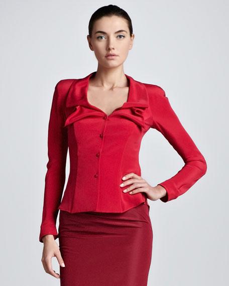 Button-Front Silk Blouse Jacket, Raspberry