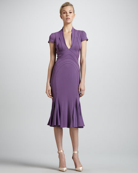 Contour-Seamed Flounce-Hem Dress, Violette