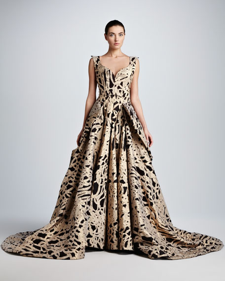 Full-Skirt Rope Brocade Ball Gown