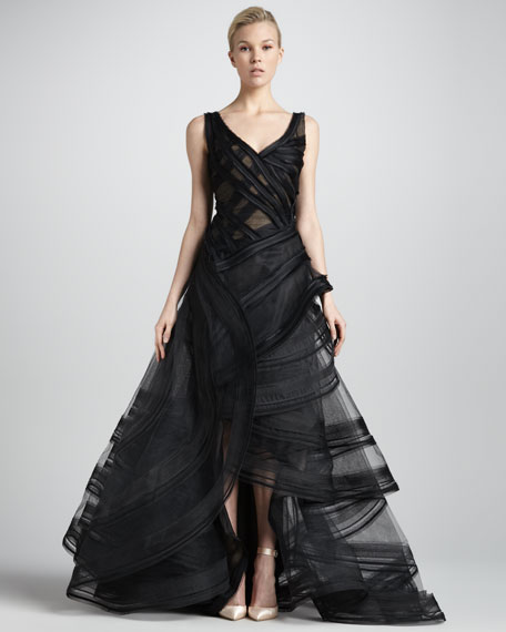 Tiered High-Low Organza Ball Gown, Black