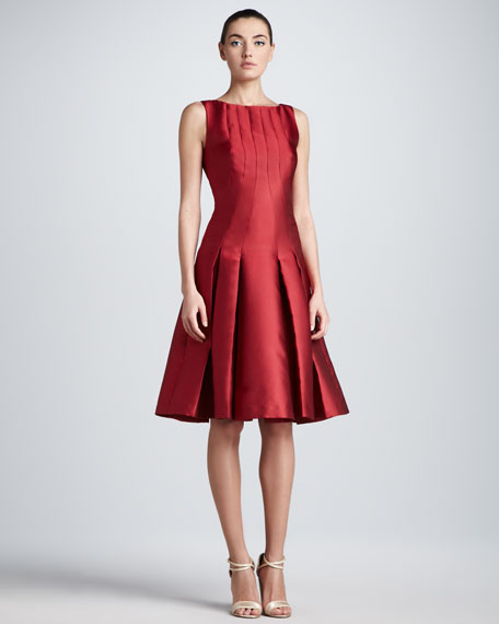 Carolina Herrera Drop-Waist Duchess Cocktail Dress, Red