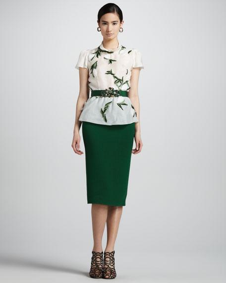 High-Waist Straight Skirt, Evergreen