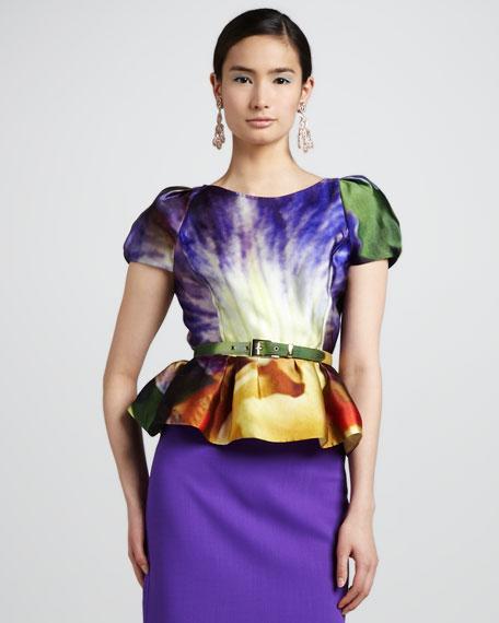 Iris-Print Peplum Scuba Tee