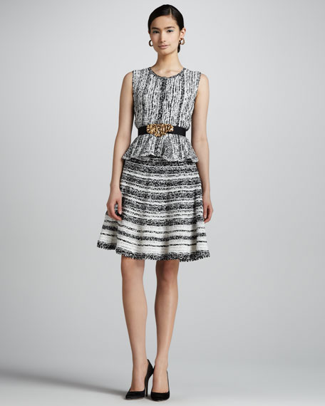 Side-Zip Silk Knit Skirt, Black/White